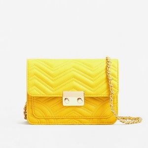Mango Yellow Quilted Chain Crossbody Bag